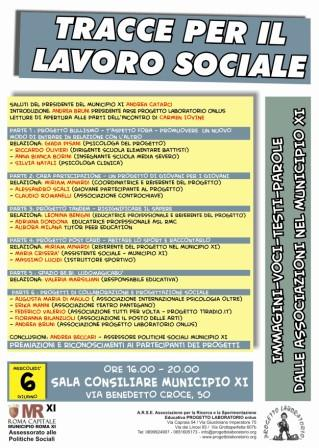 Tracce per il Lavoro Sociale: immagini, voci, testi, parole dalle Associazioni del Municipio XI