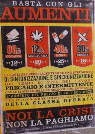 Manifesti su rincari prezzi droga al Pigneto