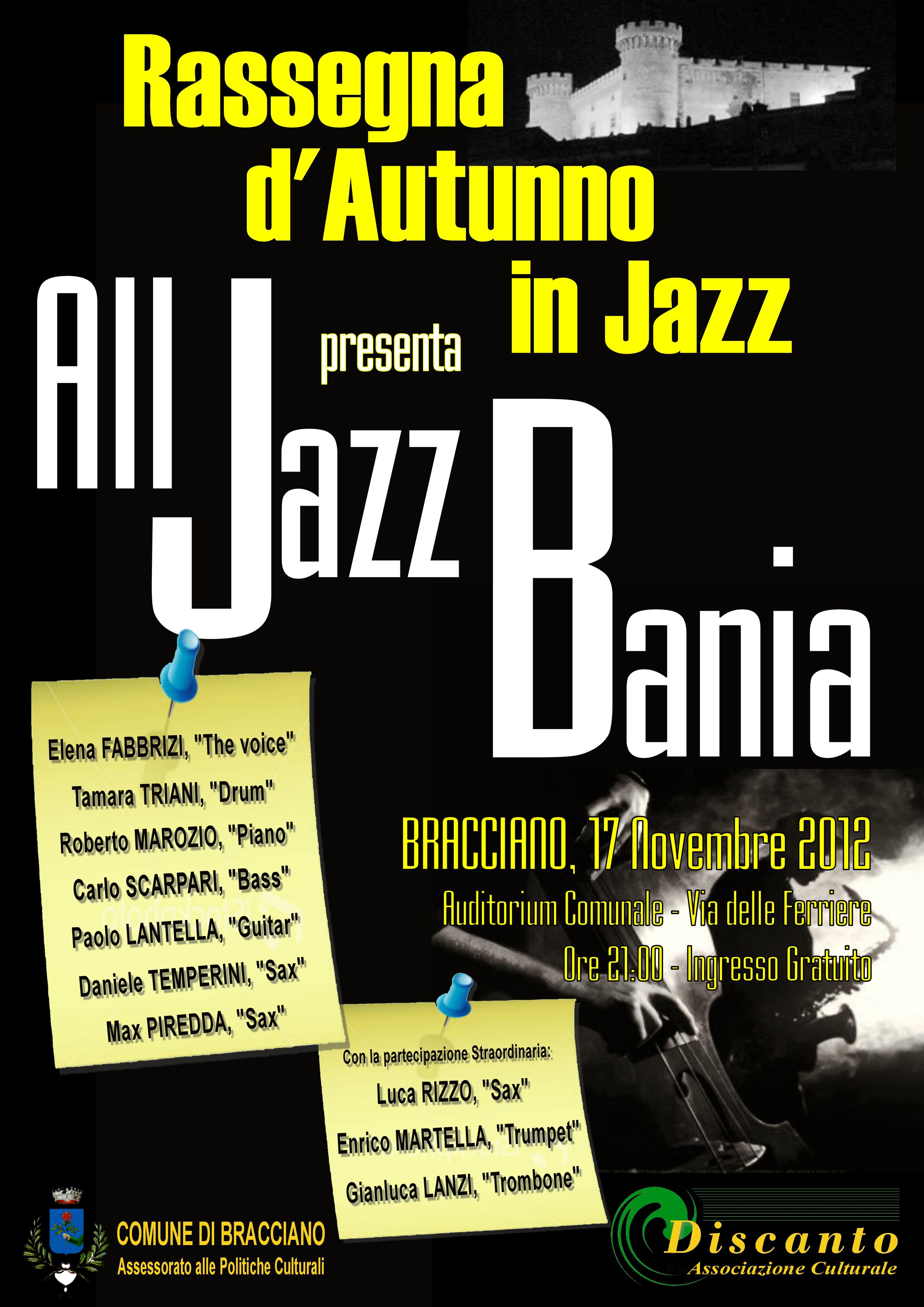 """""""All Jazz Bania"""" chiude la Rassegna d'Autunno a Bracciano"""