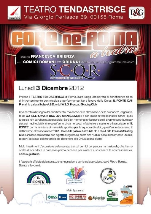 Core de Roma a teatro il 3 dicembre 2012