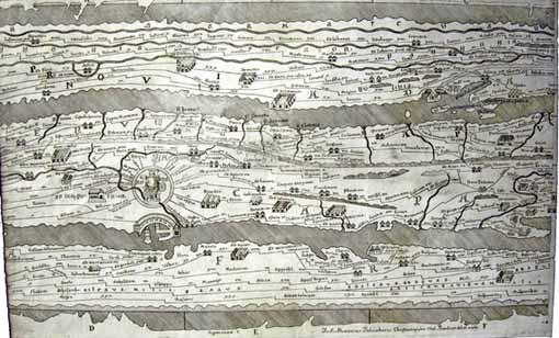 Copie del '700 della Peutingeriana con le antiche strade romane