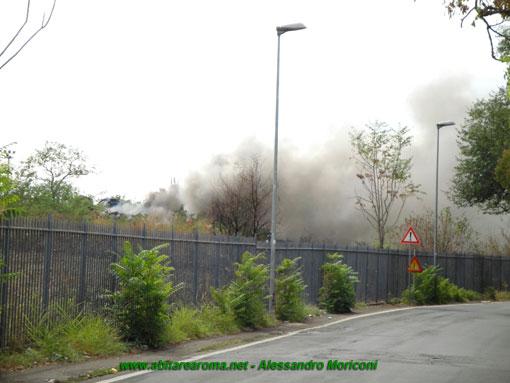 Incendio all'aeroporto di Centocelle