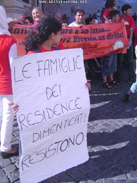 Protesta per la casa sotto il Campidoglio