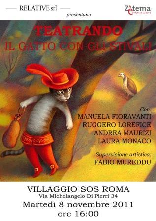 """""""Teatrando"""" a Roma con il """"Gatto con gli stivali"""" nella casa famiglia Villaggio Sos Roma"""