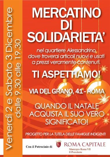Mercatino della solidarietà all'Alessandrino