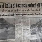 giornale coppi vince giro 1940