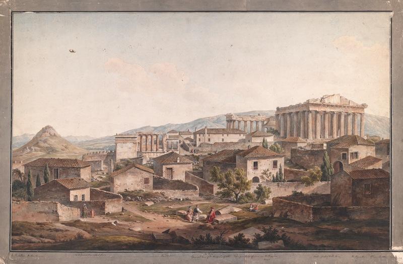 Simone Pomardi. L'Acropoli nella luce del pomeriggio, guardando a est dai Propilei - Acquerello, 100×62 cm - © 2013 The Packard Humanities Institute