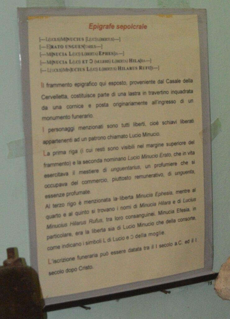 Nota su lapide sepolcrale di Lucio Minucio Erato